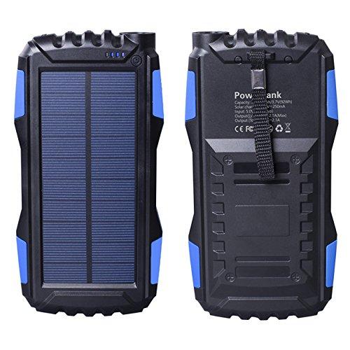 Friengood Solar Charger, draagbare 25000 mAh solar powerbank, externe batterij met twee USB-poorten en waterdichte zaklamp op zonne-energie voor iPhone, iPad, Samsung, Android-telefoons en meer Lichtblauw/blauw