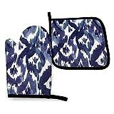 DFCC Ikat Diamonds Indigo Blue Durable Oven Mitts and Pot Holder Set, Guantes de microondas de Cocina Personalizados Resistentes al Calor Lavables para Hornear, cocinar, Asar, Barbacoa.