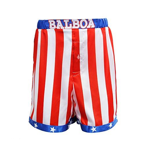 AMNPOLEN Boxershorts für Herren, amerikanische Flagge, aus Satin - Rot - XX-Large