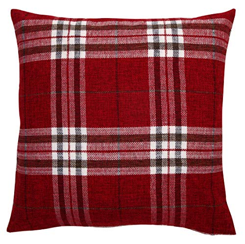 Red Tartan Check Cushion Cover Regular 18 inch (45 cm) or Large 22 inch (55 cm) (18' x 18')