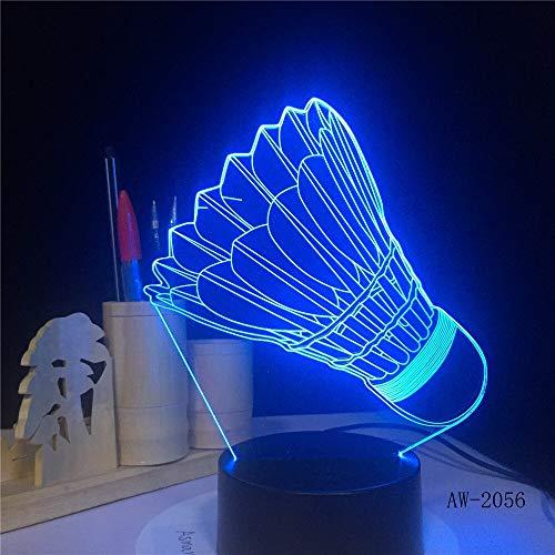 jiushixw 3D acryl nachtlampje met afstandsbediening van kleur veranderende tafellamp badminton tafellamp