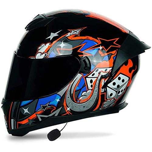 Bluetooth Casco Moto,Casco Moto Modular ECE Homologado,Doble Visera Casco Moto,Unisexo para Motocicleta Bicicleta Scooter Cascos de Moto Modulares C,M