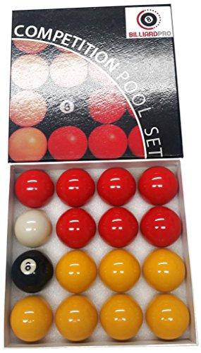 Billar Pro Unisex 2Inch League Bolas de Billar (Rojo y Amarillo, Rojo/Amarillo
