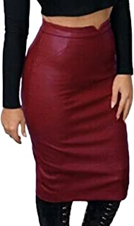 Romacci Pencil Skirts for Women PU Leather Midi Bodycon Skirt Below Knee Length Casual Slim Clubwear