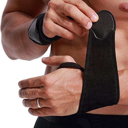 Muñequera ancha de sujeción (1 Par) - Ligera, elástica y transpirable - Compresión ajustable - Marca Neotech Care - Negro (Talla S)