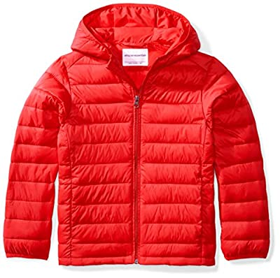Amazon Essentials Kids Boys Light-Weight Water-Resistant Packable Hooded Puffer Jackets Coats, Red, Large