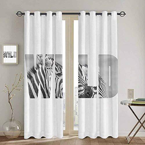 Homrkey Zebra Print Decor Collection Schlafzimmer Vorhänge Verdunkelungsvorhänge Wort Wild Over Zebras Bild Safari Tiere Abenteuer Reisen Thema Kunst Niedlich Vorhang B 107 x L 160 cm Schwarz Weiß