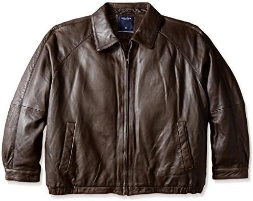 Nautica Men's Big and Tall Lamb Zip Front Blouson Leather Jacket, Milk Chocolate, 5X