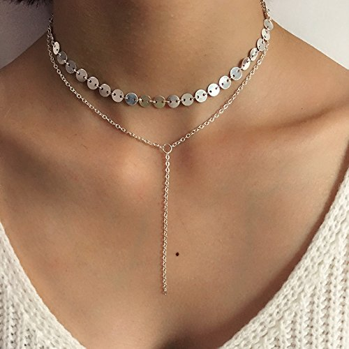 Jovani Silberne Pailletten-Y-Halskette Halskette mit mehreren Schichten für Damen und Mädchen