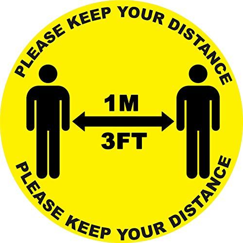 4 x Please Keep Your Distance (1 m) – Señal de seguridad de vinilo autoadhesivo a prueba de clima – 10 cm x 10 cm – (SM-02)