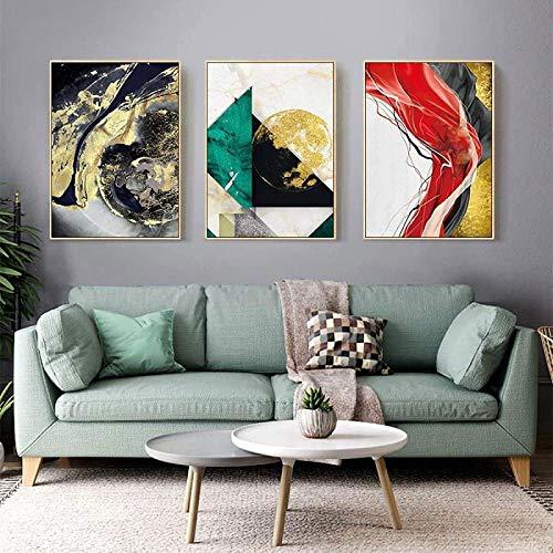 SHKHJBH Poster Moderno Stile Nordico Astratto Dipinto su Tela Dorata Stampe Poster Decorativi di Lusso Moderni Decorazioni per la casa divano3 Pezzi 40x60 cm Senza Cornice