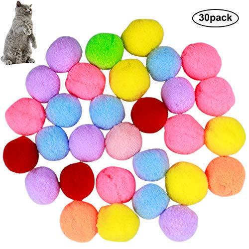 NATUCE 30PCS Katze Spielzeug Bälle 3CM, elastischer Ball, Bunte Pompom, Flauschigen Plüsch Bälle, Bommel,Kätzchen Spielzeug Flaumige Kugeln, Katzenspielzeug Ball coloréés für Katze Hunde Kitty