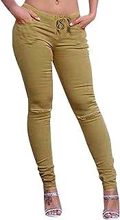 c7dc894442eb6 BIRAN Jeans pour Femmes Taille Haute Stretch Crayon Déchiré Trou breal Trou Décontracté  Pantalon Slim Couleurs