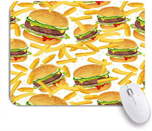 Dekoratives Gaming-Mauspad,Hamburger Pommes Bettwäsche 3D Giant Burger 3 Stück Spaß Fast Food Kreative Tagesdecken,Bürocomputer-Mausmatte mit rutschfester Gummibasis