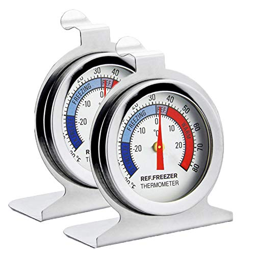 Fridge Thermometer Refrigerator Thermometer,INRIGOROUS Pack of 2 Stainless Steel Dial Fridge Freezer Thermometer with Hanging Hook and Retractable Stand (Dial Style)