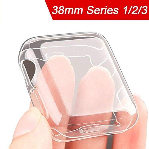 Apple Watch Funda 38mm, [Versión Mejorada] [Protector de Pantalla Completo] Ultra-Delgado TPU Suave Cubierta Parachoques Protectora Case para Apple iWatch Serie 3, 2, 1 Edition Nike+ Transparente