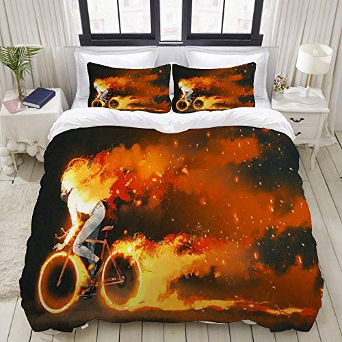 YnimioHOB Easy Care Duvet Cover Set & 2 Pillow Shams,Orange Painting Man Riding Mountain Bike Burning Fire People Sports Recreation Bicycle Wheels Action,Stylish Luxury Microfiber Quilt Cover