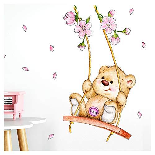Little Deco Wandaufkleber Bär auf Schaukel I A4-21 x 29,7 cm I Wandbilder Kinderzimmer Babyzimmer Deko Aufkleber Sticker Mädchenzimmer Wandsticker Kinder DL166