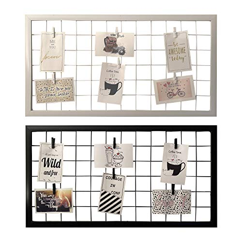 Marco o Rejilla de Pared para Mostrar Fotos, Panel de Metal como Accesorio Decorativo, Negro, Blanco y Rosado, Marco para Colgar Fotos sin Cristal, portafotos con Pinzas