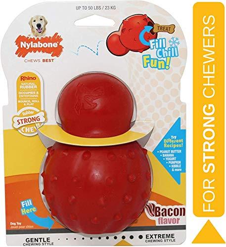 Nylabone Juguete masticable para Rellenar Fabricado en Goma Natural, Sabor a beicon, Apto para Perros Grande (hasta 23 kg), L, Red 1 Unidad 500 g