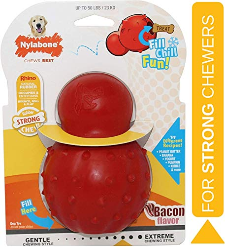 Nylabone Rubber Cone Dog Chew Toy, Bacon Flavour, Stuff with Treats, Peanut Butter and Food, Large,...