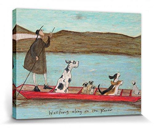 1art1 Sam Toft - Woofing Along On The River Bilder Leinwand-Bild Auf Keilrahmen | XXL-Wandbild Poster Kunstdruck Als Leinwandbild 40 x 30 cm