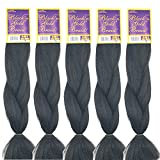 BNG Classic Braiding Hair 25 Inch 100% Kanekalon Jumbo Synthetic Bulk Braiding Hair Extensions for Goddess, Box Braids, Twists, Faux Locs, Crochet Braids 5 Pack (Color #1B)