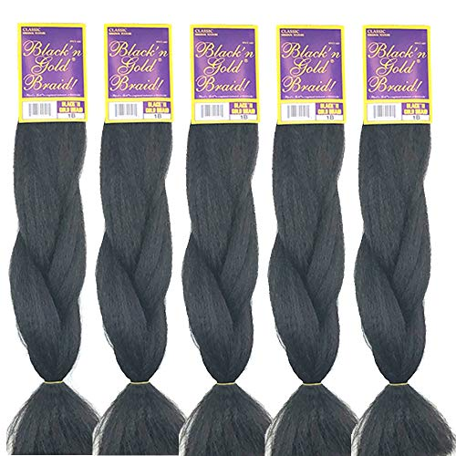 BNG Classic Braiding Hair 25 Inch 100% Kanekalon Jumbo Synthetic Bulk Braiding Hair Extensions for Goddess, Box Braids, Twists, Faux Locs, Crochet Braids 5 Pack (Color #2)