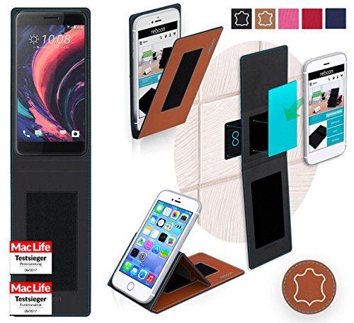 reboon Hülle für HTC One X10 Tasche Cover Case Bumper | Braun Leder | Testsieger