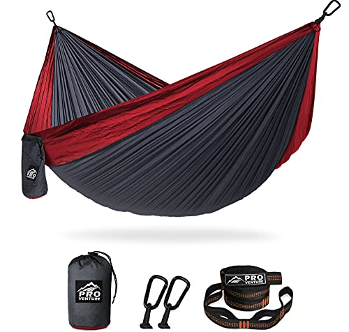 Pro Venture Double Camping Hammock - 10.5 x 6.5 FT (9ft Tree Straps, 2 Carabiners) - 2 Person, Portable, Lightweight Parachute Nylon 210T Hammocks - for Backpacking, Travel, Hiking, Patio (Double)