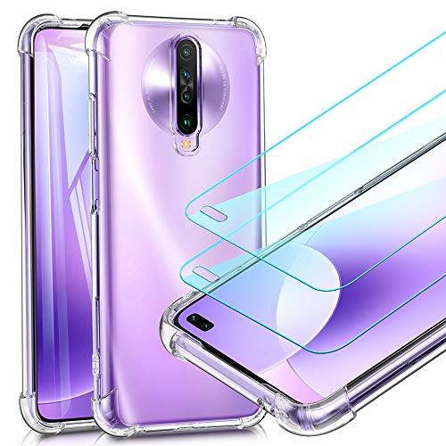 UCMDA Cover per Xiaomi Redmi K30/ K30 PRO - 2 Pack Pellicola Protettiva in Vetro Temperato, Custodia Redmi K30 Silicone Morbido, Anti Graffio Pellicola Protezione per Redmi K30/ K30 PRO