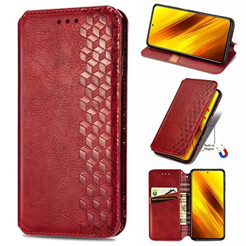 IMOK Funda OPPO Find X2 Pro, Carcasa Flip Leather Wallet Case, Funda de Cuero PU Premium Carcasa para OPPO Find X2 Pro (Rojo)