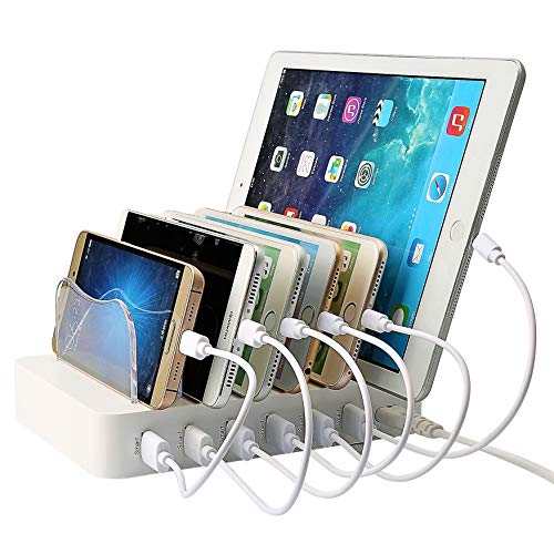 Charger Station for Multiple Devices with 6 Fast Charging Ports & USB Cables / Charging Station Compatible with Apple Products & Android Cell Phone and Tablet Devices [WHITE COLOR]