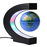 3 Inch C Shape Floating Globe With LED Light Magnetic Levitation Globe World Map For Home Room Office Decoration, US Plug