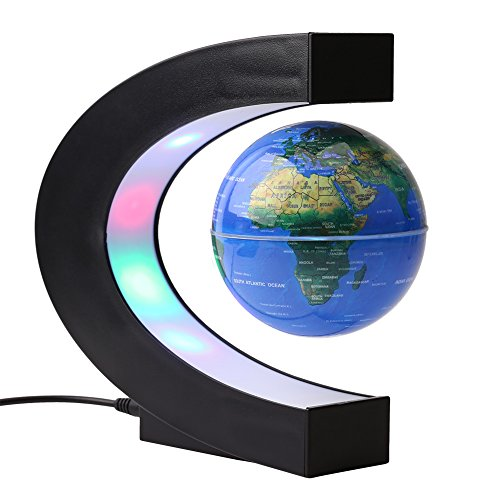 ele ELEOPTION LED Magnetisch Schwebender Globus Weltkarte LED Nachtlicht Schwebeglobus Floating Floater Erdkugel perfekt Dekoration für Büro Kinderzimmer Arbeitzimmer (Blau)