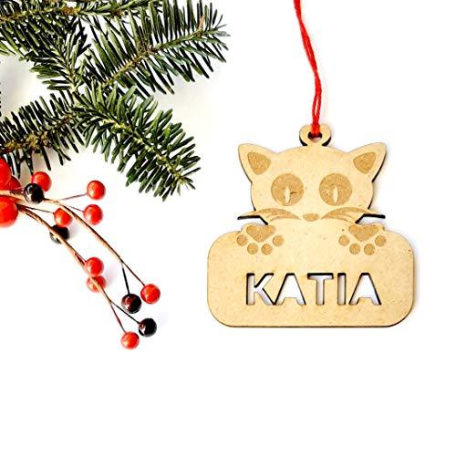 Adorno mascota gato de Navidad de madera personalizadas ornamento para el árbol...