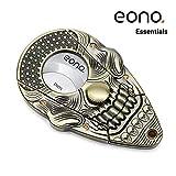 Eono Essentials - Coupe-cigare guillotine en acier inoxydable avec système de verrouillage et doubles lames auto-aiguisées, motif crâne de squelette 3D, Bronze vieilli