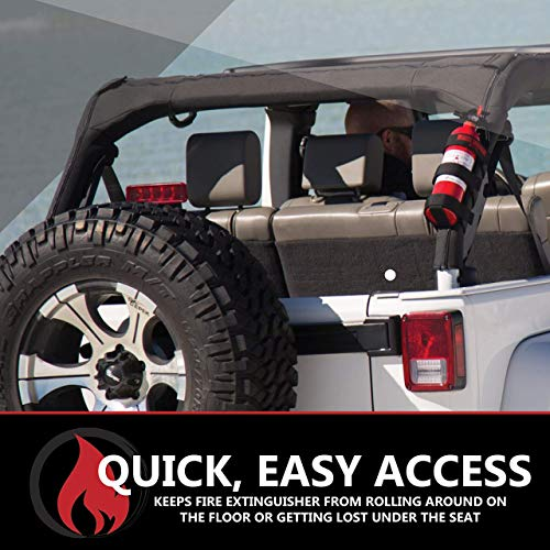 Badass Moto Fire Extinguisher Mount Compatible with Jeep Wrangler 1965-2018 JK JKU JL TJ CJ Roll Bar. Easy 1 Min. No Tools Install. Stainless Hardware. Accessories, Gifts. Extinguisher is Not Included