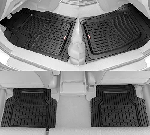BDK Performance Plus Rubber Car Floor Mats - Heavy Duty Semi-Custom Fit (Black)...