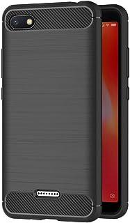 MaiJin 対応シャオミ Xiaomi Redmi 6A (5.45インチ) 衝撃吸収 ケース スリム 軽量 炭素繊維TPU保護カバー (ブラック)