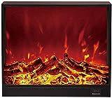 Estufa Eléctrica Empotrada - Calentador De Pared con W Logs 3D Flames Ornamental - Enchufe De Inserción Y Sensor Más Seguro - Ventilación del Piso - 1500 W Negro 66 18 56 Cm