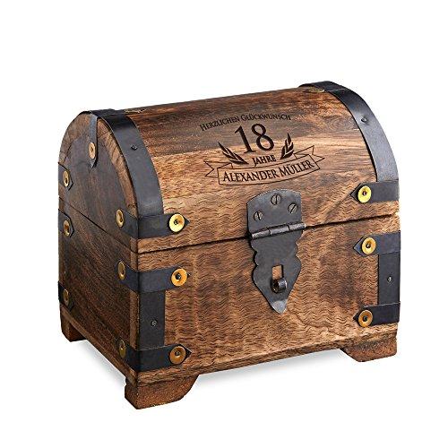 Casa Vivente Schatztruhe mit Gravur – Zum 18. Geburtstag – Personalisiert mit Namen – Aufbewahrungsbox aus dunklem Holz – Verpackung für Geld und Gutscheine – Geschenkidee zur Volljährigkeit