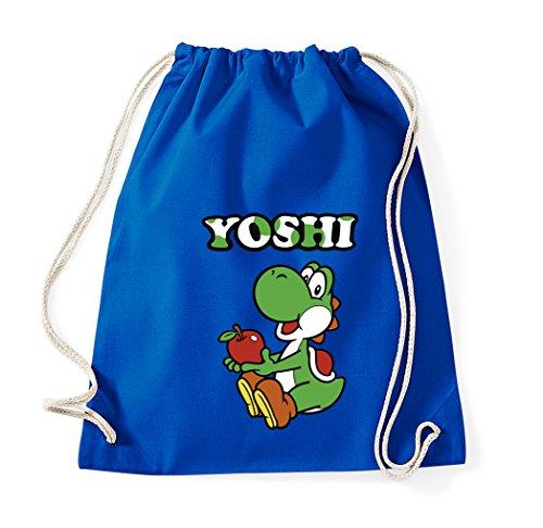 TRVPPY Baumwoll Turnbeutel Sportbeutel Modell Yoshi Farbe Royalblau