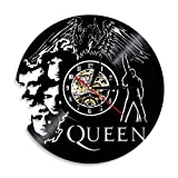 YUN Clock@ Reloj de Pared de Vinilo Placa Reloj Upcycling 3D Queen Band Diseño de Reloj de Pared de decoración Vintage de Reloj de Pared Decoración Retro de Reloj Fabricado en Alemania