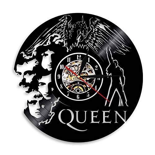 YUN Clock Wanduhr aus Vinyl Schallplattenuhr Upcycling 3D Queen Band Design-Uhr Wand-Deko Vintage Familien Zimmer Dekoration Kunst Geschenk Ø: 30 cm