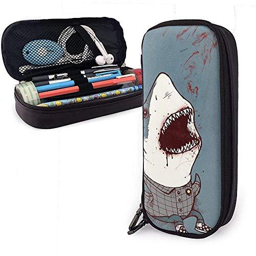 Shark Wearing Plaid Shirt Nette Pu-Leder Federmäppchen 20X9X4cm Doppelreißverschlüsse Bleistiftbeutel Tasche für Schulbüro Mädchen Jungen Erwachsene