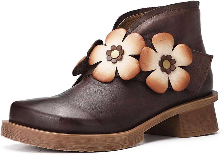 Woherrar Woherrar Woherrar läder skor Autumn Winter Vintage Flower Ankle stövlar Velcro Ankle stövlar Mother stövlar Comfort Loafers (färg  bspringaaa, Storlek  38)  till grossist