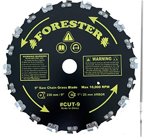 FORESTER Brush Cutter Blades and File Set - Trimmer Chainsaw Tooth Saw Blade - for Trimming Trees, Cutting String, Underbrush, and More - 20 Tooth 9