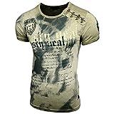 Herren Rundhals Vintage T-Shirt Kurzarm Slim Fit Design Fashion Top Print Shirt 15156, Größe:XL, Farbe:Khaki