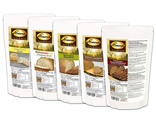 """Dr. Almond Low Carb Paleo Keto Brot Backmischungen PROBIERPAKET""""Unsere Brotklassiker"""" glutenfrei sojafrei (5 Sorten)"""